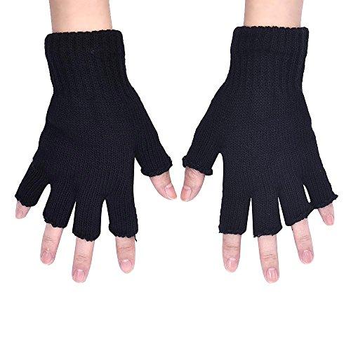 (Loneflash Gloves, Men Black Knitted Stretch Elastic Fashion Knitted Arm Fingerless Warm Winter Half Finger Soft Mitten Gloves)