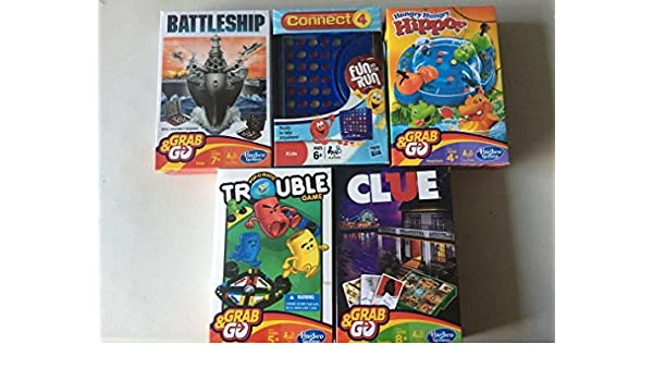 Hasbro Grab and Go Games Monopoly Battleship Connect 4 Clue /& More Travel Size