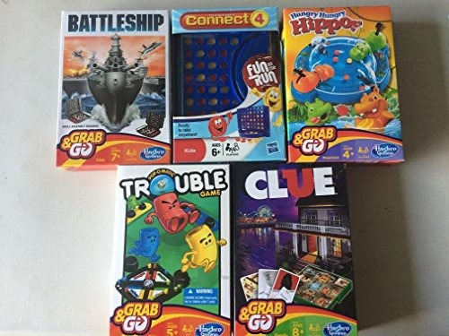 Four Hasbro Connect (5 Pk. HASBRO Fun on the Run Travel Board Games ~ MONOPOLY~CONNECT 4~TROUBLE~CLUE~BATTLESHIP)