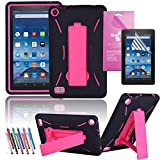 Amazon Fire 7 2015 Case, EpicGadget(TM) 5th Generation Fire 7 Heavy Duty Hybrid Case Full Protection Cover with Kickstand For Fire 7 inch Display + Screen Protector and 1 Stylus (US Seller)Black/Pink