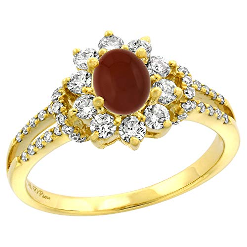 (14k Yellow Gold Diamond Genuine Brown Agate Halo Engagement Ring Oval 7x5mm, size 5 )