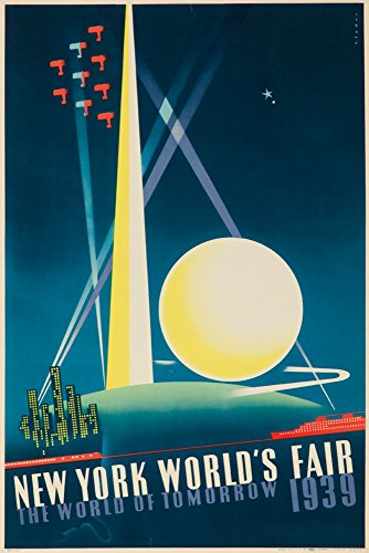 1939 Worlds Fair Poster - New York World's Fair 1939 - The World of Tomorrow Vintage Poster (artist: Binder) USA c. 1939 (9x12 Art Print, Wall Decor Travel Poster)
