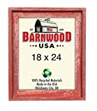 BarnwoodUSA | Signature Picture Frame – 100% Up-cycled Reclaimed Wood (18×24, Rustic Red) For Sale