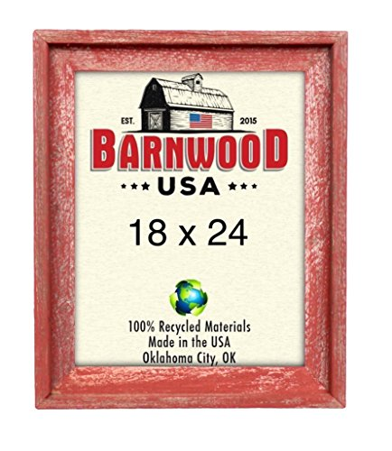 BarnwoodUSA | Signature Picture Frame - 100% Up-cycled Reclaimed Wood (18x24, Rustic Red)