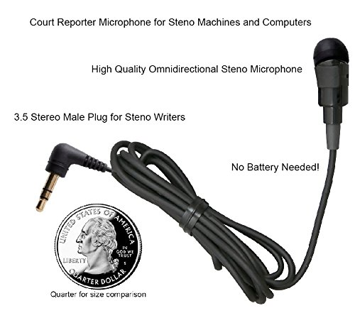 Court Reporter Microphone for Steno Machine and computers No Battery - Machine Steno