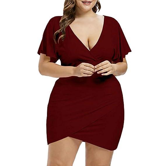 Amazon.com: Twinsmall Mini Bodycon Dress, Womens Plus Size Deep V ...