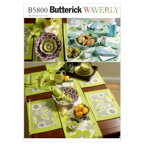3 Sewing Patterns - Butterick Patterns B5800OSZ Napkins, Placemats, Table Runner, Table Cloth and Flower Bowl in 3 Sizes Sewing Pattern, Size One Size