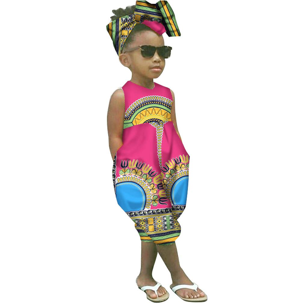 2-7Years,SO-buts Kid Baby Girl Summer Floral African Print Sleeveless Romper Bodusuit Bow Hair Band Jumpsuit Clothes