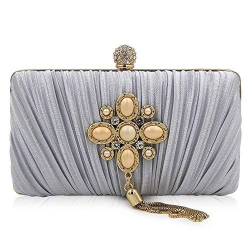 Folds Bag Bag Dinner Clutch Mini Banquet Dress Tassel Lady Superw Bag Bag Gray Gem nF01787qw