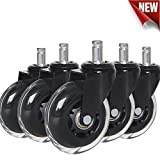 "Anyke 3"" Office Chair Caster Wheels Swivel Heavy-Duty Replacement Fit for Most Furniture Rollerblade Style Set of 5"