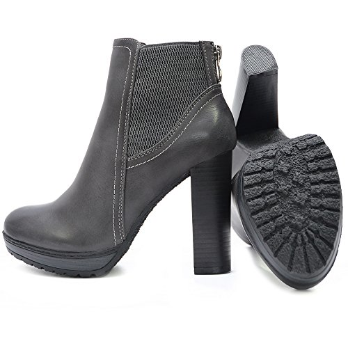 0c26736f96c5aa ... Kayla Shoes Chelsea Boots Plateau Stiefeletten mit Blockabsatz in  Holzoptik Dunkel Grau
