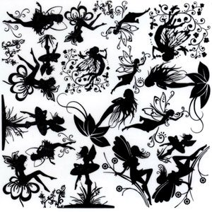 Designer Line Fairies Black Enamel - Enamel Decal Fusible Black
