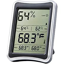 Hygrometer Thermometer °F/°C Switch Satu Brown Indoor Humidity Monitor with Large LCD Display Comfort Indicator Great for Room, Office