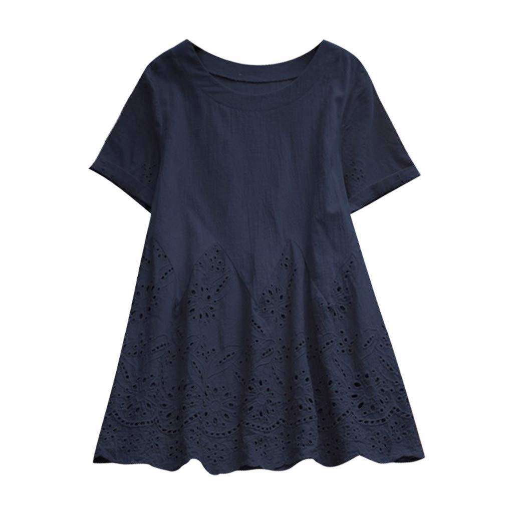 Pasato Short Sleeve Tee Vintage Solid Color Floral Hollow Out Hem Round Neck T Shirt Tops
