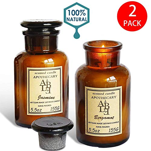 YIH Apothecary Collection Soy Wax Blend Candle in Glass Jar, 5.5 Ounce, Amber & Smoke ,Jasmine and Bergamot-Set of 2 ()