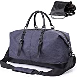 Oversized Duffel Weekend Bag with Shoe Bags, Genuine Leather Overnight Carryon Hand travel Bag for Men and Women