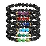 Milakoo 6 Pcs Lava Rock Bead Bracelet for Men Women Healing Energy Bracelet with Gift Box