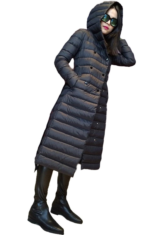 queenshiny Damen Lange Daunenjacke Mantel Jacke mit Kapuze unterhalb der Knie Winter
