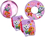 Paw Patrol Girls Pink Kids Inflatable Armbands Swim Ring and Beach Ball Swimming Pool Beach Floats Set