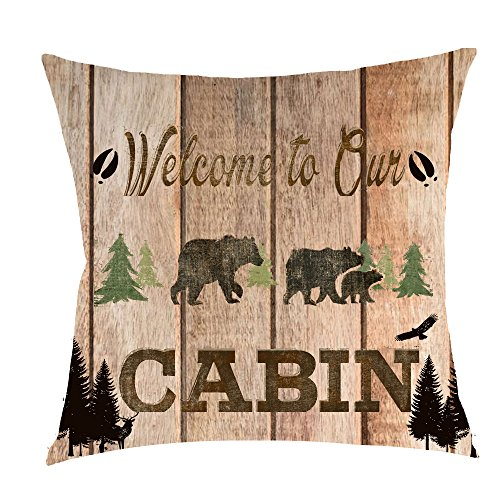 Welcome to the cabin wild free animal bear pine tree Cotton Linen Square Throw Waist Pillow Case Decorative Cushion Cover Pillowcase Sofa 18x18 inches -