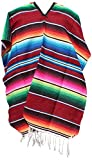 Authentic Heavy Mexican Ponchos Sarapes Adult Size (Assorted Colors) (Cherry)