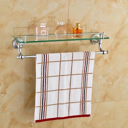 Rozinsanitary Chrome Polished Bathroom Glass Shelf Wall Mount Cosmetic Holder
