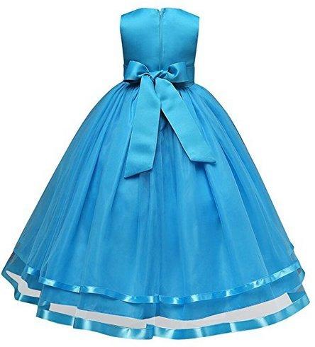 128 Bal D'honneur Floral Tulle Et Fête Princesse Ballon Fleur Bleu Taille Demoiselle 140 Court Dentelle Fille 152 104 164 Robe De 116 Soir Agogo xHIq6wS
