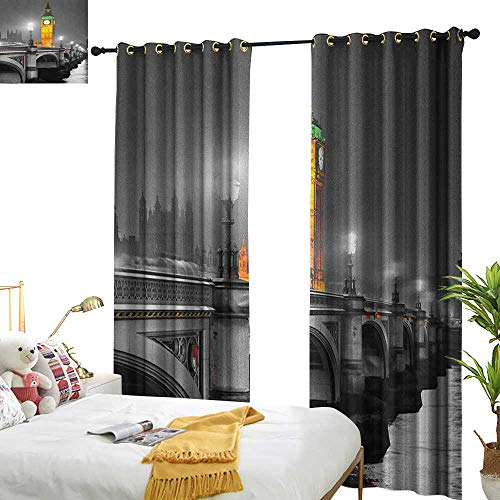 Insulated Sunshade Curtain London The Big Ben and The Westminster Bridge at Night in UK Street River European Look Darkening and Thermal Insulating W72 x L96 Grey Yellow ()
