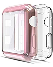 Simpeak Full Protector Case Compatible with iWatch 38mm, [2 Packs] [All-Around] Soft TPU Clear Touch Screen Protector Bumper Cover for 38mm iWatch Series 2,Series 3, Clear+Rose Gold