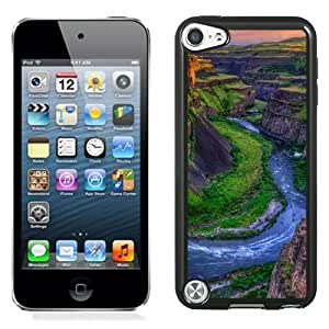 Beautiful Unique Designed iPod Touch 5 Phone Case With River Canyon Sunset_Black Phone Case