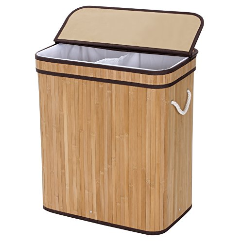 SONGMICS Divided Laundry Hamper Two-section Basket Double Dirty Clothes Storage Sorter with Lid Handles and Removable Liner Natural Bamboo Color ULCB64Y