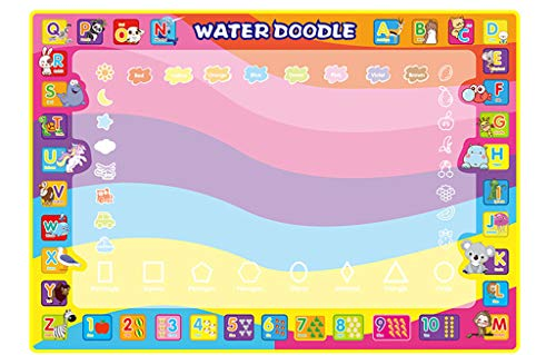 Binory 100x70cm Children Educational Toys,Magic Letter and Number Water Painting Board Funny Graffiti Colorful Paint Toys,Learning DIY Arts and Crafts Water Canvas Children's Day Gift for Kids