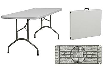 Compribene Mesa plegable de resina para jardín rectangular blanco ...