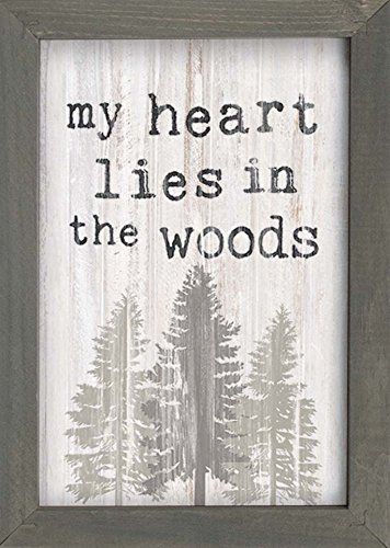 P. GRAHAM DUNN My Heart Lies in The Woods Trees Rustic Grey 7 x 10 Inch Pine Wood Framed Wall Art Plaque