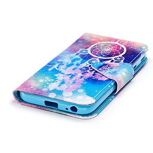 Ecoway Para Samsung Galaxy J3 Funda, Serie pintada Caja del teléfono de moda (Mariposa) PU Leather Cubierta , Función de Soporte Billetera con Tapa para Tarjetas Soporte para Teléfono Compatible Samsu Color Campanula
