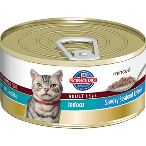 Hill's Science Diet Adult Indoor Cat Savory Seafood Entree Minced Cat Food, 5.5-Ounce Can, 24-Pack, My Pet Supplies