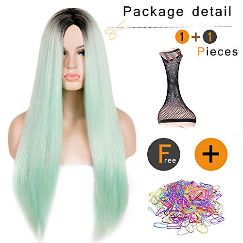 (SiYi Long Straight Mint Green Wig Ombre Black Root Synthetic Wigs Heat Resistant Cosplay Pastel Full Wigs for Women)