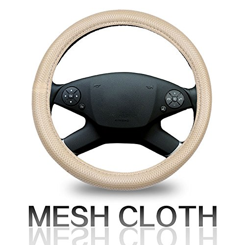 ECCPP Steering Wheel Cover 15 Inch Universal Polyester/Mesh - Beige Auto Steering Wheel Cover