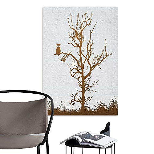 Wall Mural Wallpaper Stickers Owl Cross Eyed Owl on Autumn Tree Branch Solitary Nocturnal Bird Artistic Print Chocolate Ice Blue Simple European Style W32 x H48