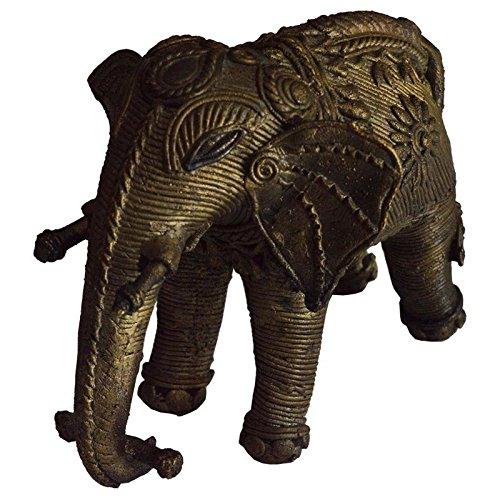 Shrinath Handicrafts Old Antique Handmade Brass Elephant With Bronze Wire