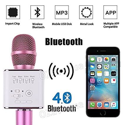 SKYSE Wireless Bluetooth Microphone Recording Condenser Handheld Microphone  with Bluetooth Micgeek Q9 Speaker For All Android and iOS Devices (Colour