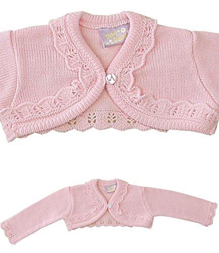 BabyPrem Baby Cardigan Jacket Acrylic Frilly Bolero 0-23 mths PINK (Baby Bolero)