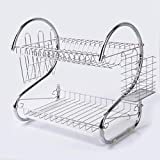 2 Tiers Kitchen Dish Cup Drying Rack Holder Organizer Drainer Dryer Tray Cutlery by General