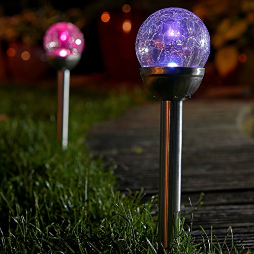 Auraglow Set of 4 Solar Mosaic Post Lights Outdoor Garden LED Path Crackle Globes - Colour Changing