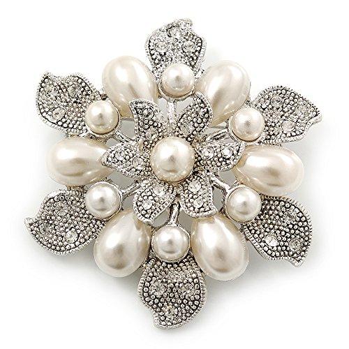Avalaya Vintage Inspired Swarovski Crystal White Simulated Pearl 'Flower' Brooch in Rhodium Plating - 55mm Diameter