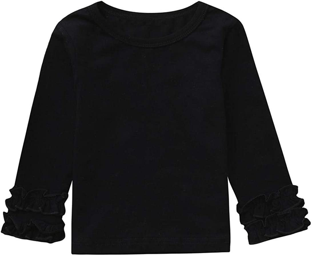 Baby Girl Toddler Kid Long Sleeve Tops Tee Clothes Solid Color Blouse T-shirt