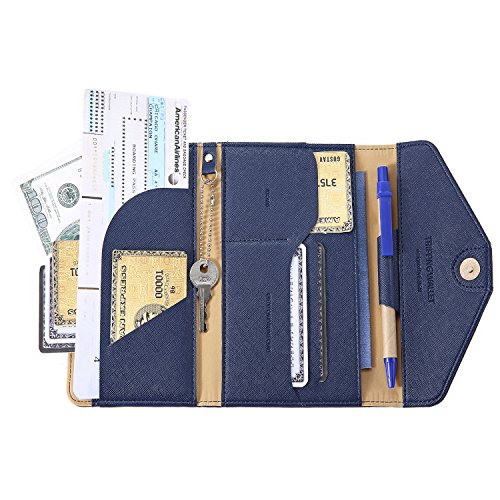 IVESIGN Travel Passport Wallet Trifold Envelope Document Organizer Holder With Free Pen (Blue) by IVESIGN