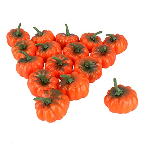 6MILES Artificial Lifelike Realistic Fall Harvest Fake Fruit Simulation Mini Pumpkins for Halloween Home Kitchen Decoration Set of 16