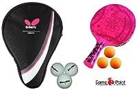 Sunflex Tischtennisschläger GIRL`S EDITION mit 3 Bällen + BUTTERFLY TT-HÜLLE...