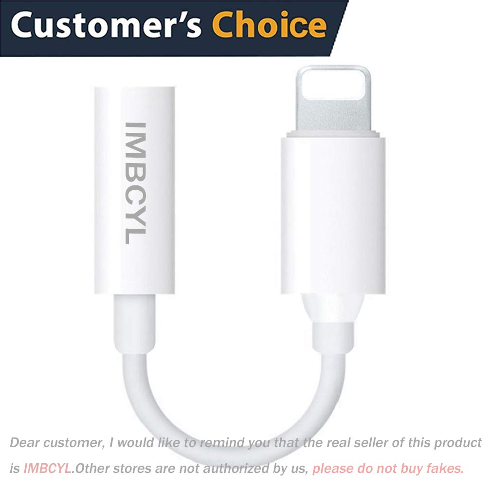 Lightning to 3.5mm Headphone Jack Adapter for iPhone7/7Plus iPhone8/8Plus iPhone10/X Jack Earphone Connector Cable Travel&Music for iPhone7 AUX Female Audio Jack Earbud Cable Adaptor Support iOS11or12